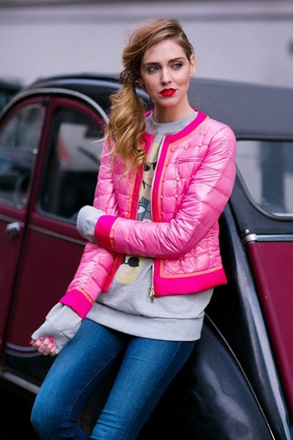 Bright pink jacket with printed shirt and skinnies