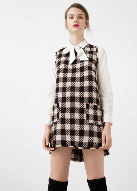 Checked dress with white shirt and over the knee boots