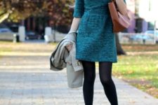 Colored dress with black tights, brown ankle boots and big brown bag