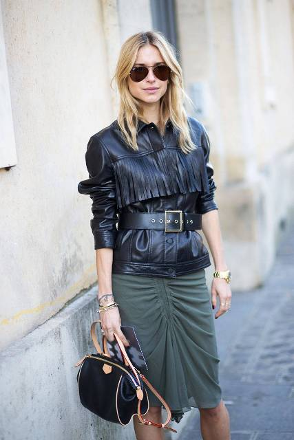 Cool leather jacket with olive green skirt