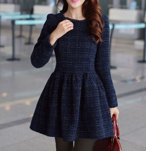 Dark color skater dress with long sleeves