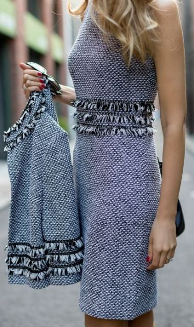 Elegant tweed dress with tweed jacket