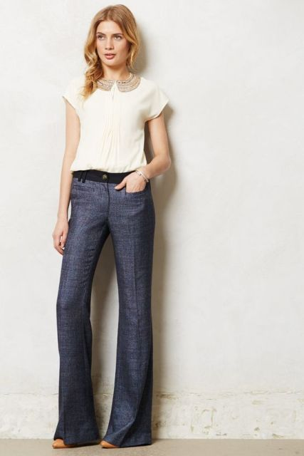 Flare trousers with white shirt