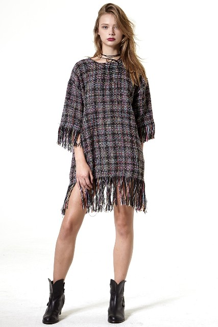 Fringe dress and ankle boots