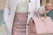 Gentle look with pink tweed skirt, white shirt, pastel coat and light pink bag
