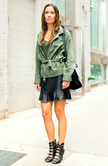 Green army belted jacket with leather mini skirt