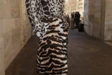 Knee-length belted animal print coat