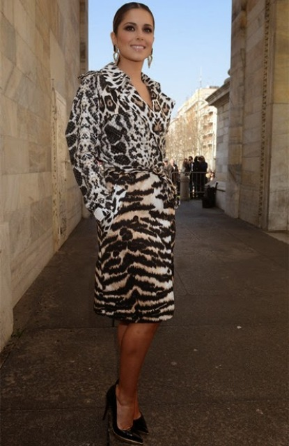 Knee length belted animal print coat