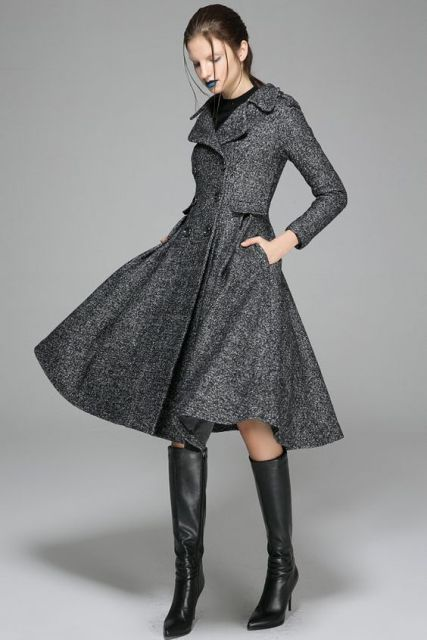 Knee-length coat with high boots