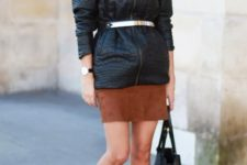 Leather jacket with suede mini skirt