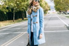 Light blue coat with skinny jeans and leopard ankle boots