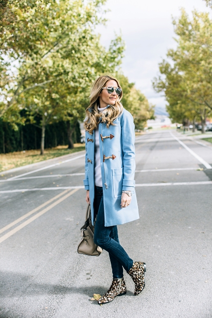 Picture Of Light Blue Coat With Skinny Jeans And Leopard
