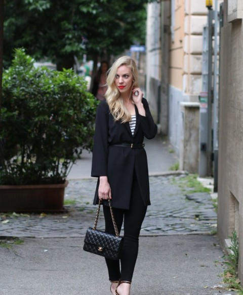 Long belted blazer with striped shirt, skinnies and small bag