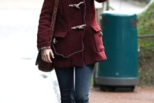 Marsala coat with jeans and light pink shoes