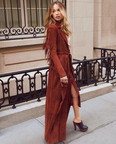 Marsala maxi coat with fringe decor