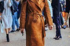 Midi brown suede belted coat
