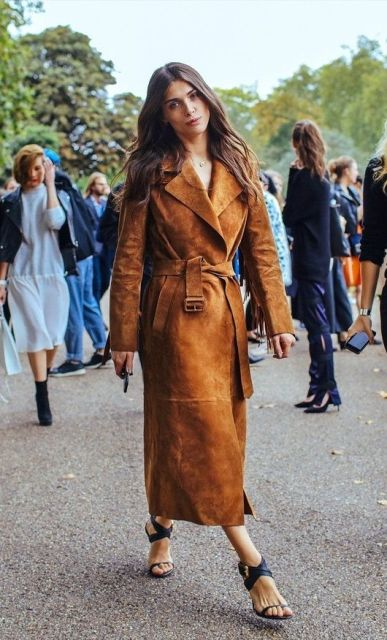 Midi brown suede belted coat