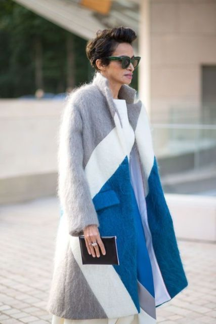 Midi coat with sunglasses, clutch and dress