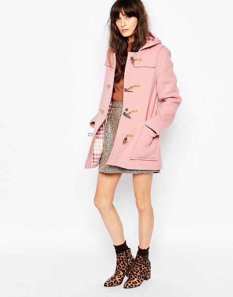 Pink coat with orange shirt, printed mini skirt and leopard boots
