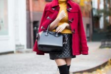 Red coat wih orange turtleneck, leather mini skirt and over the knee boots