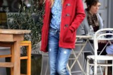 Red coat with cuffed distressed jeans, printed shirt and black pumps