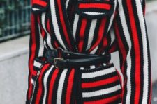 Striped jacket with black belt and leather pants