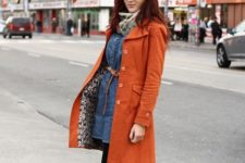 With belted denim dress and brown boots