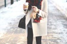 With black beanie, plaid oversized scarf, over the knee boots and skirt