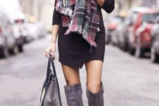With black dress, plaid scarf and gray bag