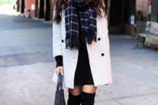 With black dress, plaid scarf and over the knee suede boots