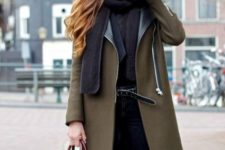With black scarf, marsala bag and black pants