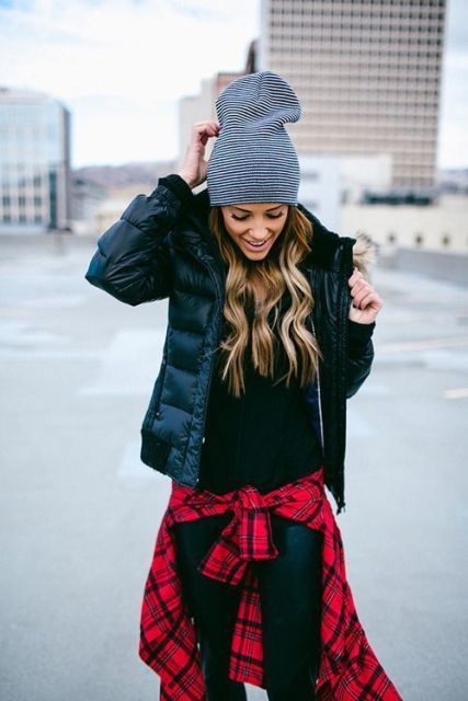 casual puffer jacket look