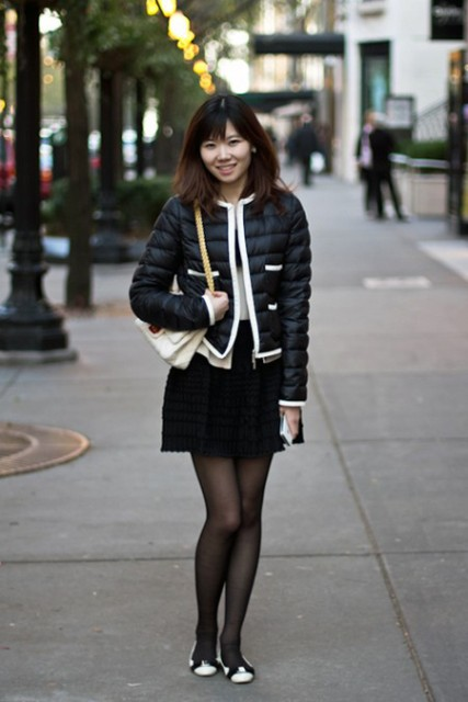 With black skirt and two tone flats