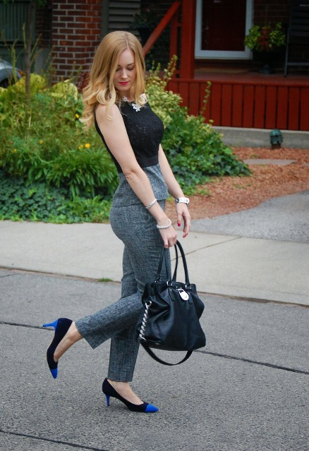 With black top and two color shoes