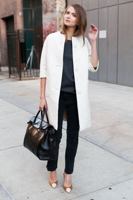 With blouse, straight pants and two color pumps