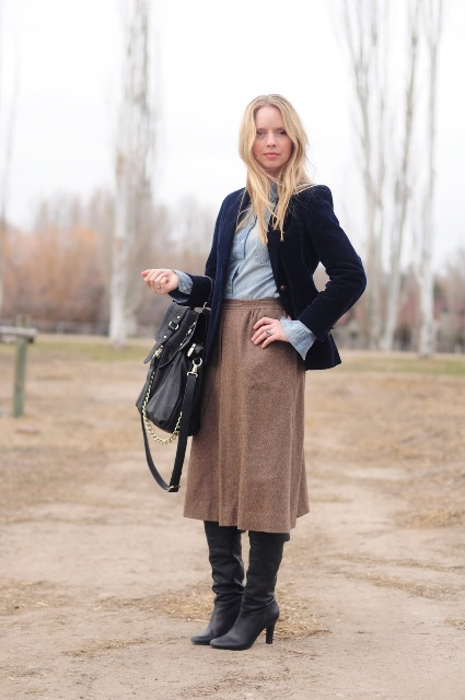 With button down shirt, blazer and boots