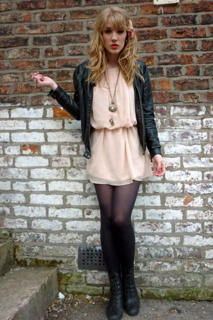 With chiffon dress, leather jacket and black tights