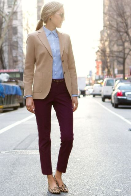 With classic shirt, leopard shoes and brown jacket