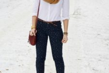 With classic white shirt, oversized scarf and printed pants