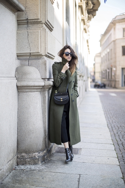 With crop pants, black boots and crossbody bag