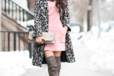 With cute pink dress and leopard coat