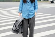 With denim shirt and black leather shoes