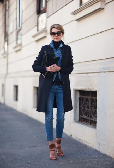 With denim shirt, black turtleneck, crop jeans and heels