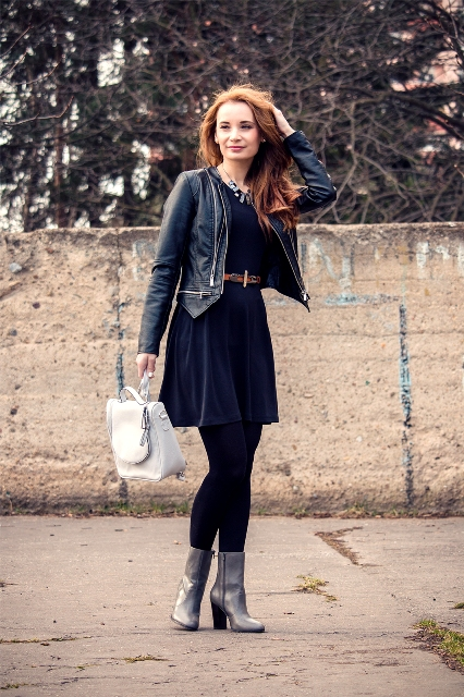 With dress with belt and leather black jacket