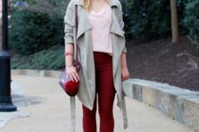 With duster coat, lace up flats and crossbody bag