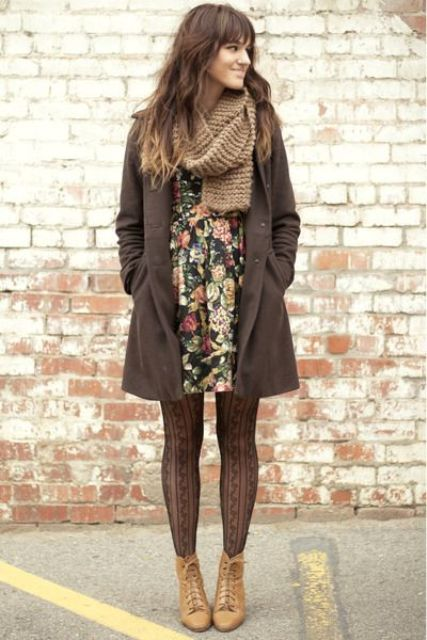 With floral mini dress, printed tights and mini coat
