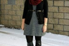 With gray dress, marsala scarf and leather black boots