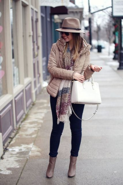With jeans, ankle boots, oversized scarf and hat