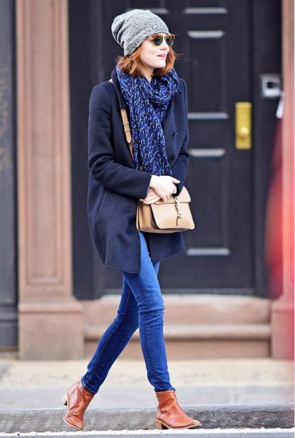 With jeans, brown ankle boots, oversized scarf and gray beanie