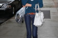 With jeans, leather belt and sweatshirt